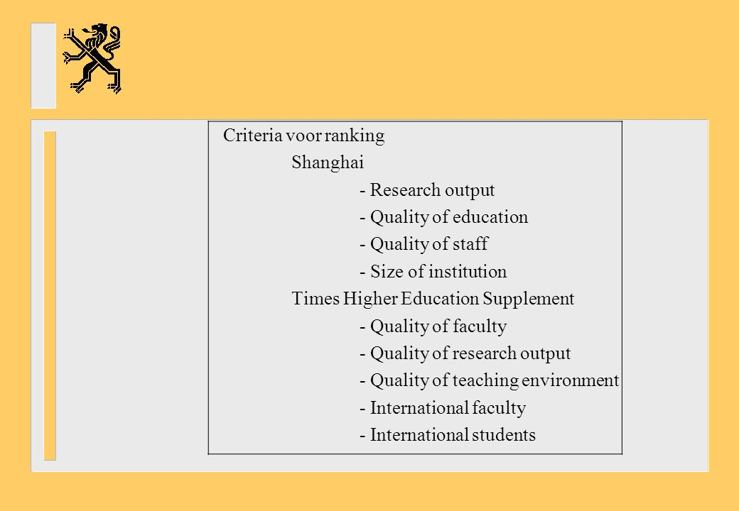 Criteria voor ranking Shanghai - Research output - Quality of education - Quality of staff - Size of institution Times Higher Education Supplement - Quality of faculty - Quality of research output - Quality of teaching environment - International faculty - International students