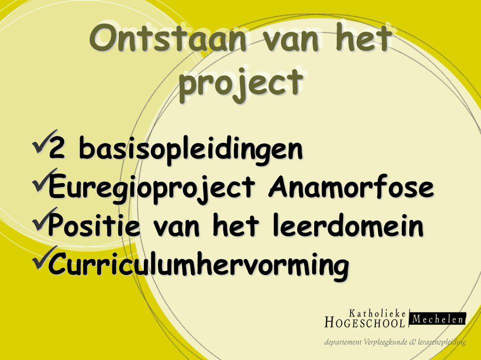 2 basisopleidingen 2 basisopleidingen Euregioproject Anamorfose Euregioproject Anamorfose Positie van het leerdomein Positie van het leerdomein Curriculumhervorming Curriculumhervorming Ontstaan van het project