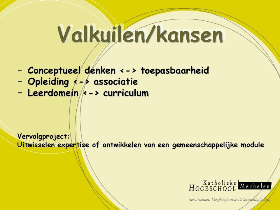 - Conceptueel denken toepasbaarheid - Opleiding associatie - Leerdomein curriculum Vervolgproject: Uitwisselen expertise of ontwikkelen van een gemeenschappelijke module Valkuilen/kansenValkuilen/kansen