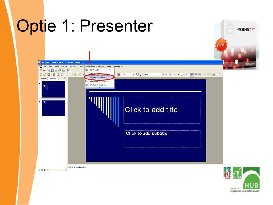 Voordelen Eenvoudig Stemopname / slide Resultaat = PPT 30 dagen free trial Nadelen   Geen opname beeldscherm Animatie ~ gesproken tekst Achtergrondlawaai
