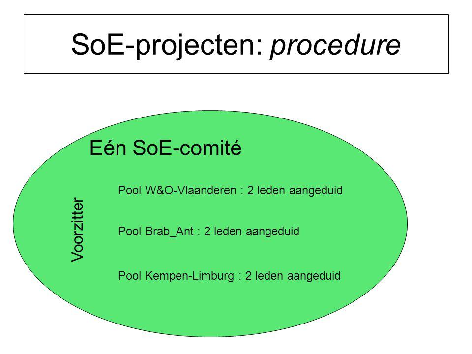 SoE-projecten: procedure Eén SoE-comité Pool W&O-Vlaanderen : 2 leden aangeduid Pool Brab_Ant : 2 leden aangeduid Pool Kempen-Limburg : 2 leden aangeduid Voorzitter