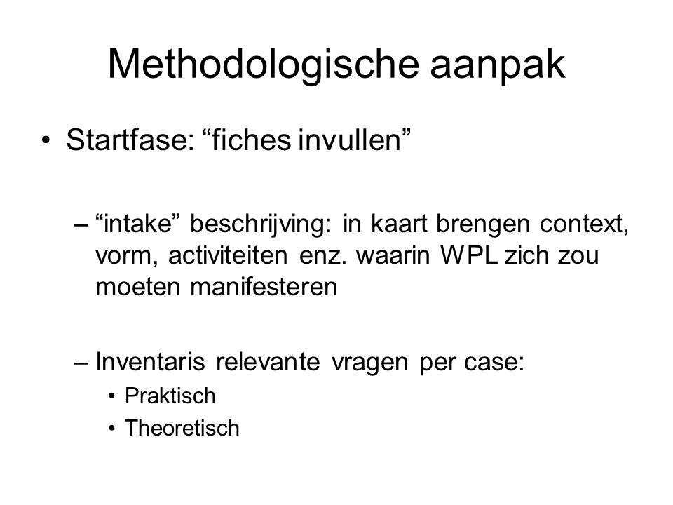 Methodologische aanpak Startfase: fiches invullen – intake beschrijving: in kaart brengen context, vorm, activiteiten enz.