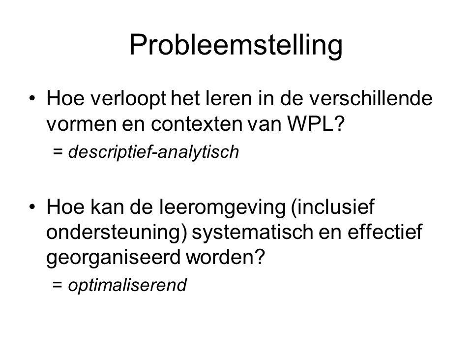Probleemstelling Hoe verloopt het leren in de verschillende vormen en contexten van WPL.