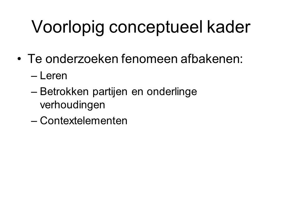 Voorlopig conceptueel kader Te onderzoeken fenomeen afbakenen: –Leren –Betrokken partijen en onderlinge verhoudingen –Contextelementen