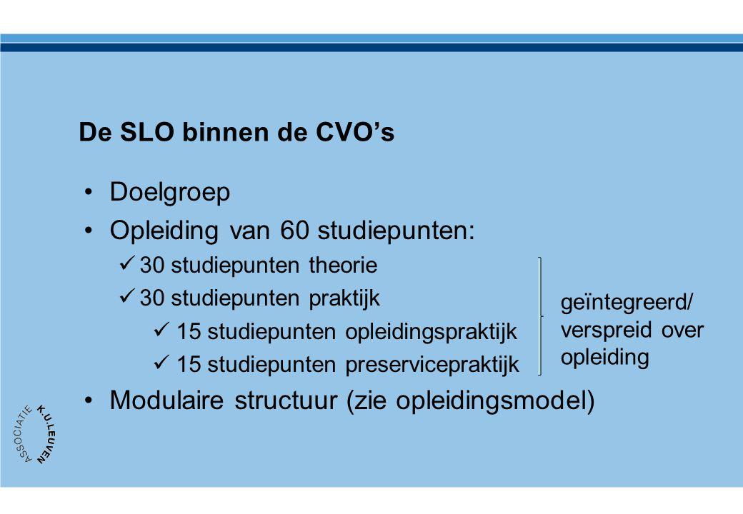 De SLO binnen de CVO's Doelgroep Opleiding van 60 studiepunten: 30 studiepunten theorie 30 studiepunten praktijk 15 studiepunten opleidingspraktijk 15