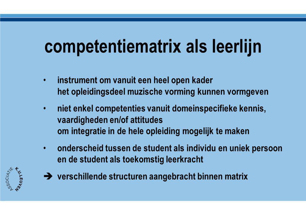competentiematrix als leerlijn instrument om vanuit een heel open kader het opleidingsdeel muzische vorming kunnen vormgeven niet enkel competenties v