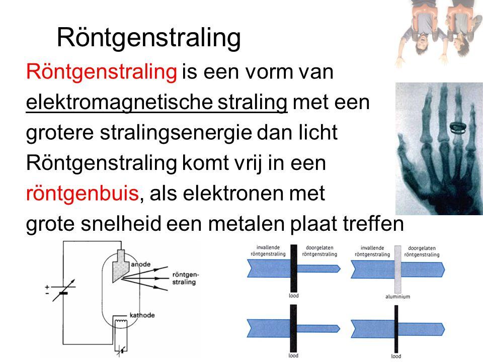 Röntgenstraling Röntgenstraling is een vorm van grotere stralingsenergie dan licht Röntgenstraling komt vrij in een röntgenbuis, als elektronen met grote snelheid een metalen plaat treffen elektromagnetische straling met een