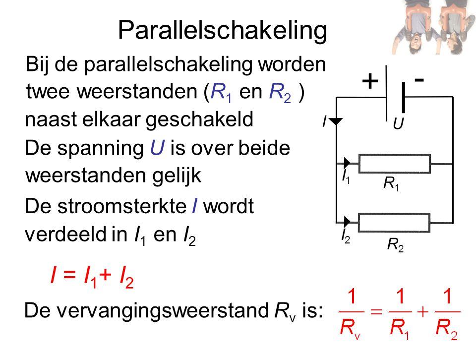 R2R2 I = I 1 + I 2 Parallelschakeling I2I2 R1R1 I1I1 I U Bij de parallelschakeling worden twee weerstanden (R 1 en R 2 ) naast elkaar geschakeld De sp
