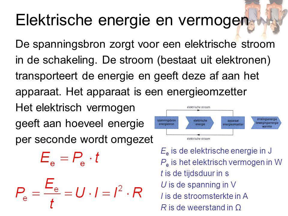 Elektrische energie en vermogen De spanningsbron zorgt voor een elektrische stroom in de schakeling. De stroom (bestaat uit elektronen) transporteert