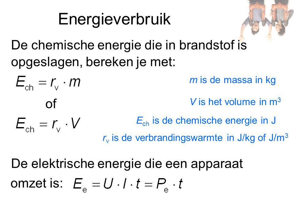 Energieverbruik De chemische energie die in brandstof is opgeslagen, bereken je met: of De elektrische energie die een apparaat omzet is: m is de mass