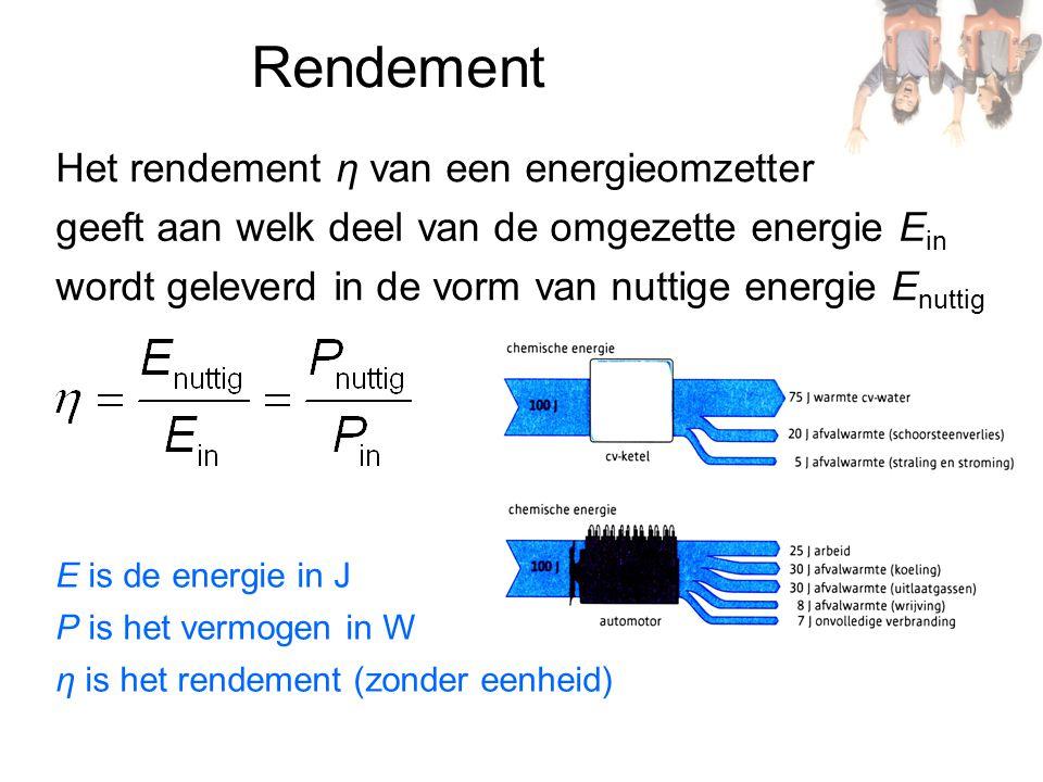 Rendement Het rendement η van een energieomzetter geeft aan welk deel van de omgezette energie E in wordt geleverd in de vorm van nuttige energie E nu