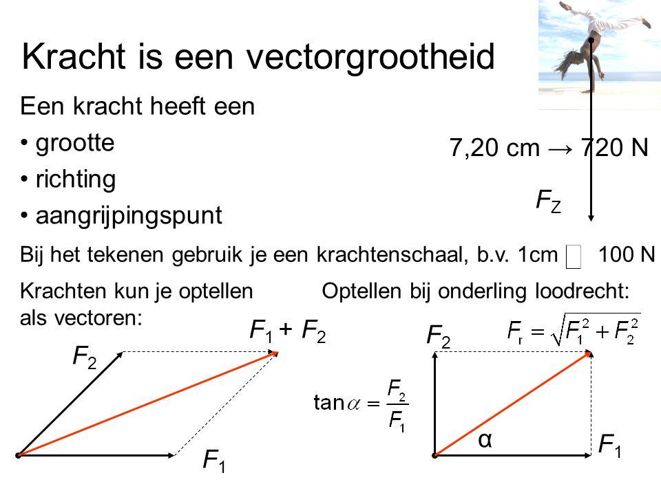 Kracht is een vectorgrootheid Een kracht heeft een grootte richting aangrijpingspunt Bij het tekenen gebruik je een krachtenschaal, b.v. 1cm100 N FZFZ