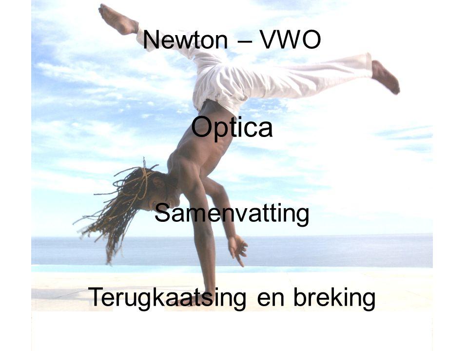 Newton – VWO Optica Samenvatting Terugkaatsing en breking