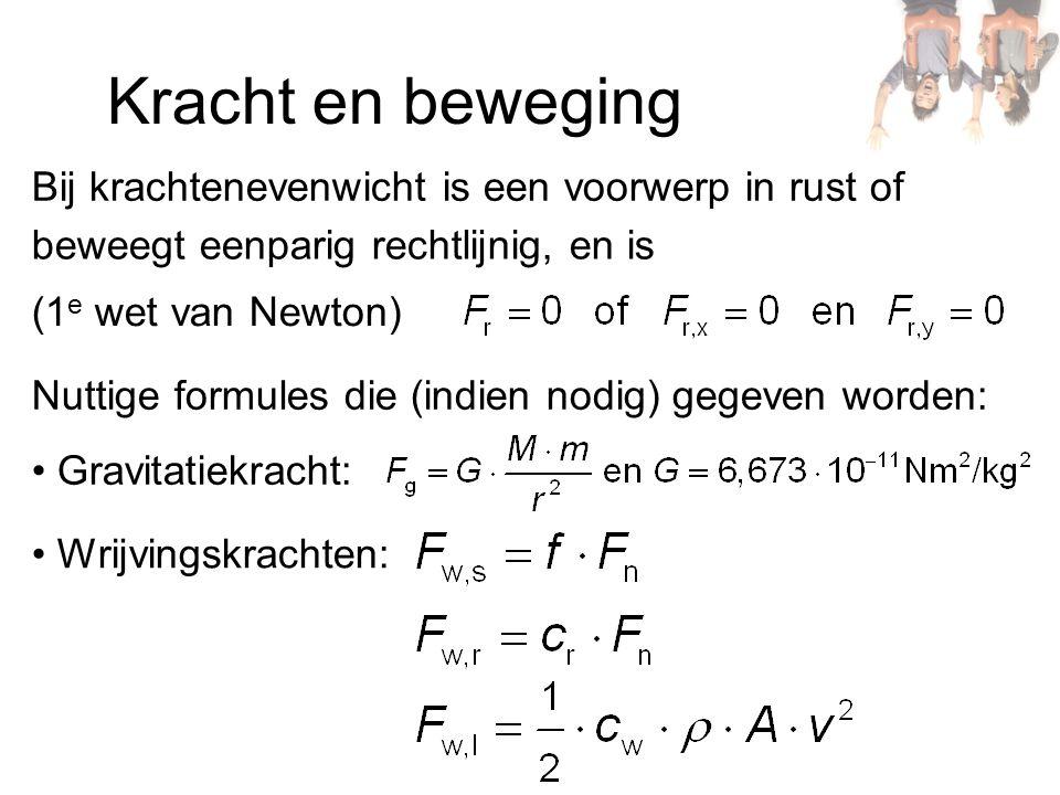 Kracht en beweging Bij krachtenevenwicht is een voorwerp in rust of beweegt eenparig rechtlijnig, en is (1 e wet van Newton) Nuttige formules die (ind