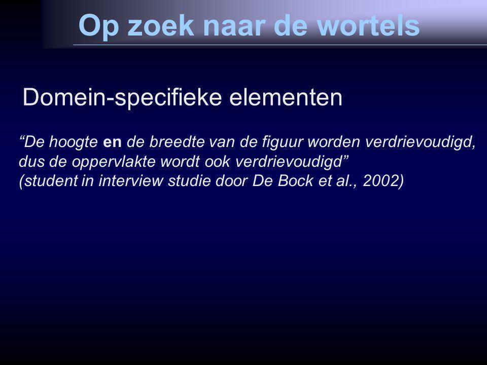 Op zoek naar de wortels Domein-specifieke elementen De hoogte en de breedte van de figuur worden verdrievoudigd, dus de oppervlakte wordt ook verdrievoudigd (student in interview studie door De Bock et al., 2002)