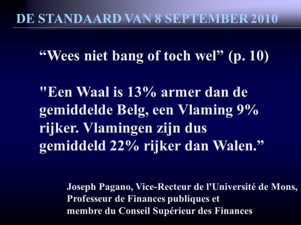 DE STANDAARD VAN 8 SEPTEMBER 2010 Wees niet bang of toch wel (p.