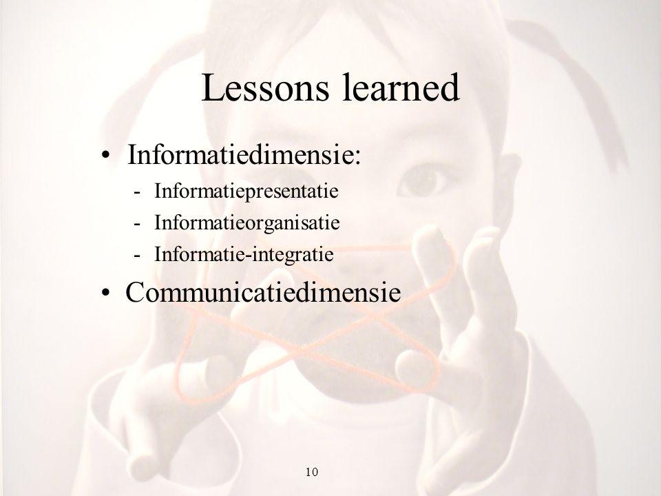 Lessons learned Informatiedimensie: -Informatiepresentatie -Informatieorganisatie -Informatie-integratie Communicatiedimensie 10