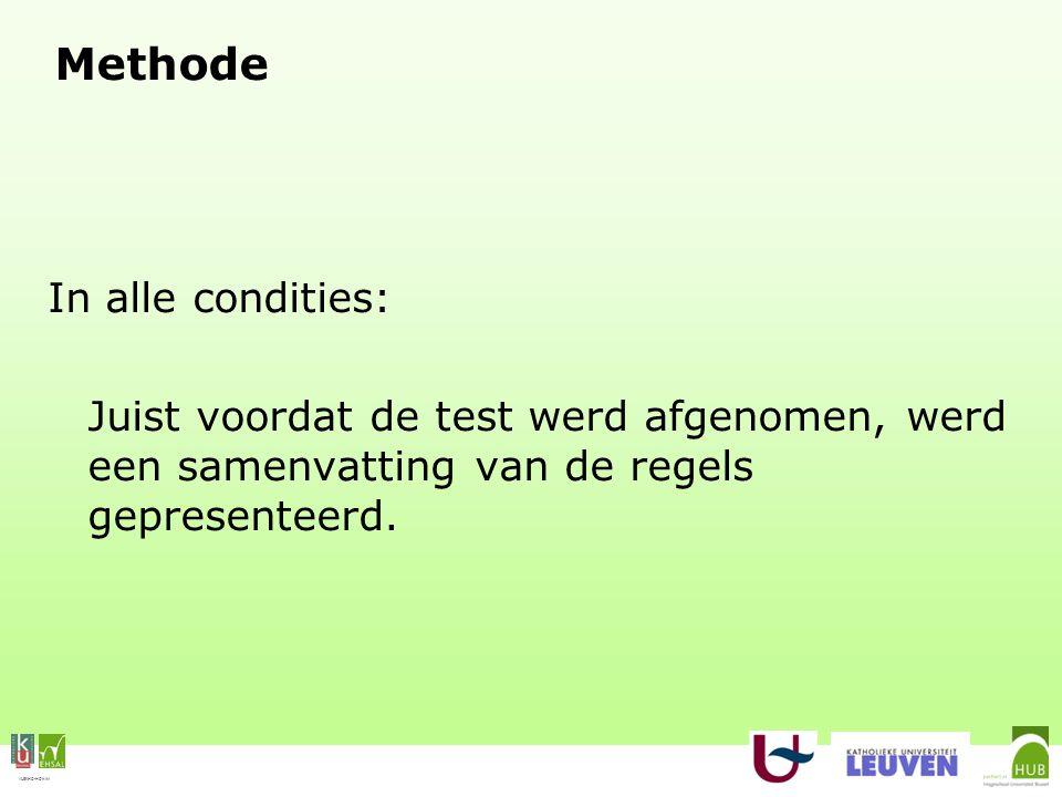 VLEKHO-HONIM Methode In alle condities: Juist voordat de test werd afgenomen, werd een samenvatting van de regels gepresenteerd.