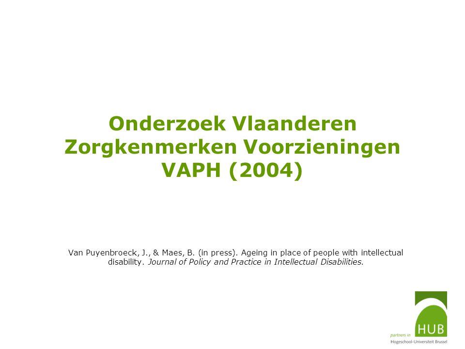 Onderzoek Vlaanderen Zorgkenmerken Voorzieningen VAPH (2004) Van Puyenbroeck, J., & Maes, B. (in press). Ageing in place of people with intellectual d