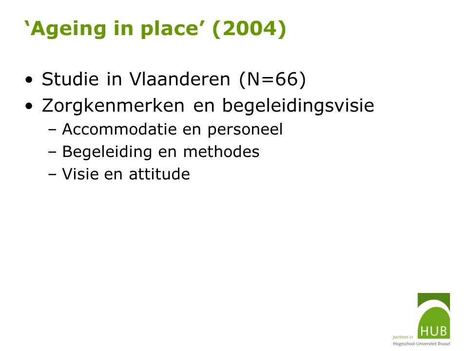 'Ageing in place' (2004) Studie in Vlaanderen (N=66) Zorgkenmerken en begeleidingsvisie –Accommodatie en personeel –Begeleiding en methodes –Visie en