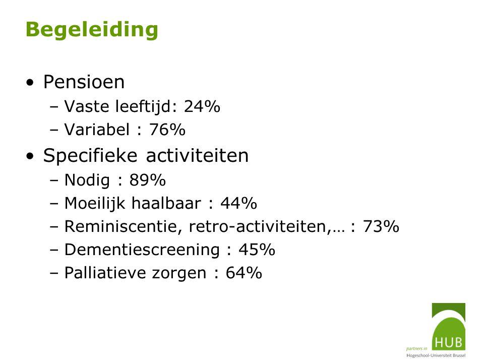 Begeleiding Pensioen –Vaste leeftijd: 24% –Variabel : 76% Specifieke activiteiten –Nodig : 89% –Moeilijk haalbaar : 44% –Reminiscentie, retro-activite