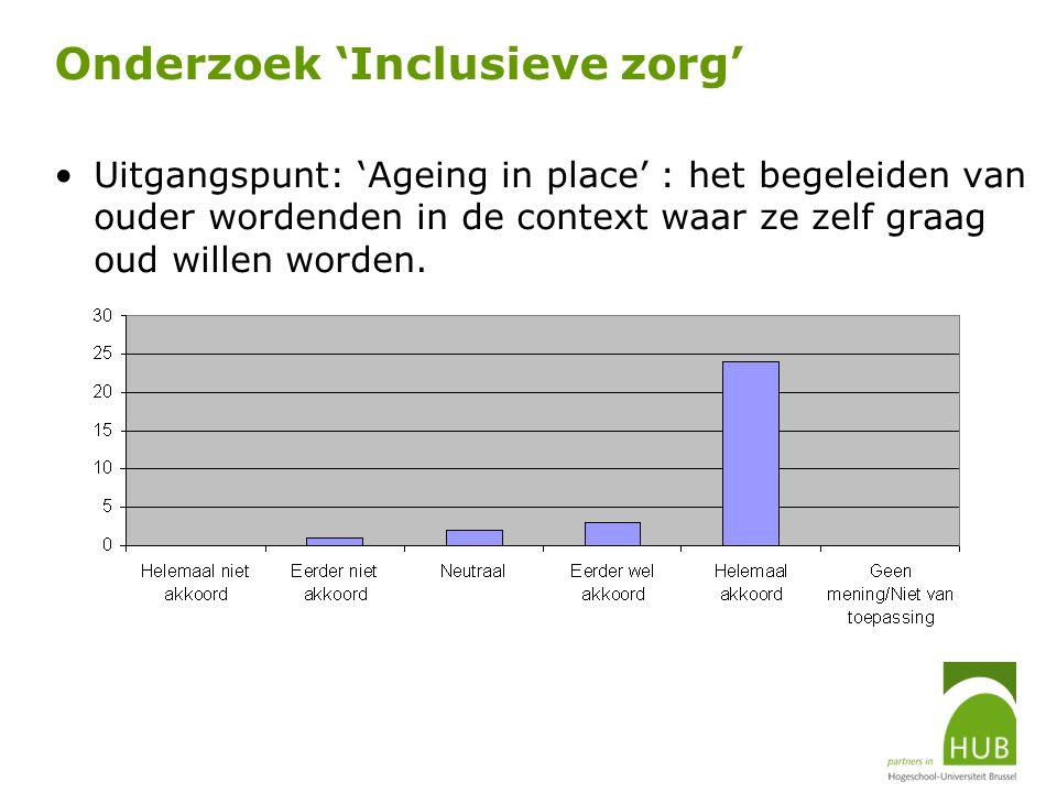 Onderzoek 'Inclusieve zorg' Uitgangspunt: 'Ageing in place' : het begeleiden van ouder wordenden in de context waar ze zelf graag oud willen worden.