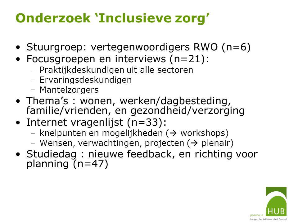 Onderzoek 'Inclusieve zorg' Stuurgroep: vertegenwoordigers RWO (n=6) Focusgroepen en interviews (n=21): –Praktijkdeskundigen uit alle sectoren –Ervari