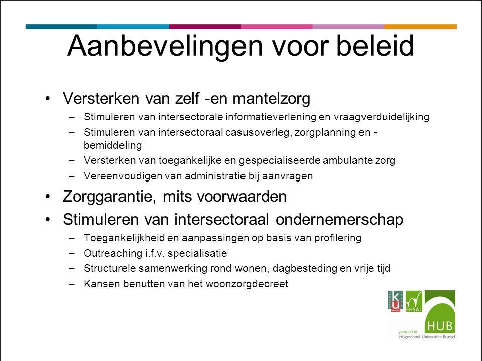 Aanbevelingen voor beleid Versterken van zelf -en mantelzorg –Stimuleren van intersectorale informatieverlening en vraagverduidelijking –Stimuleren van intersectoraal casusoverleg, zorgplanning en - bemiddeling –Versterken van toegankelijke en gespecialiseerde ambulante zorg –Vereenvoudigen van administratie bij aanvragen Zorggarantie, mits voorwaarden Stimuleren van intersectoraal ondernemerschap –Toegankelijkheid en aanpassingen op basis van profilering –Outreaching i.f.v.