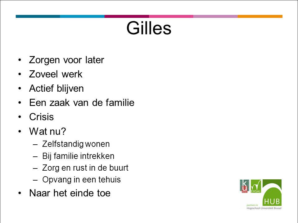 Gilles Zorgen voor later Zoveel werk Actief blijven Een zaak van de familie Crisis Wat nu.