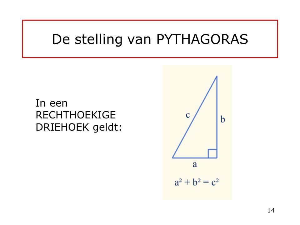 De stelling van PYTHAGORAS In een RECHTHOEKIGE DRIEHOEK geldt: 14