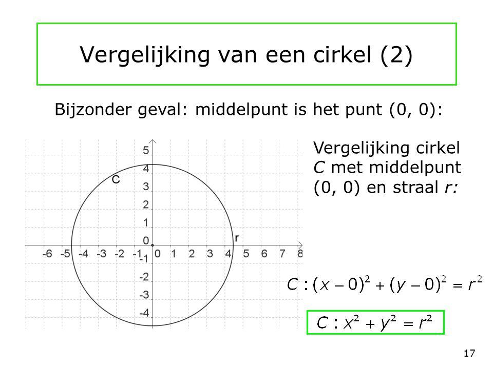 Vergelijking van een cirkel (2) Bijzonder geval: middelpunt is het punt (0, 0): Vergelijking cirkel C met middelpunt (0, 0) en straal r: 17