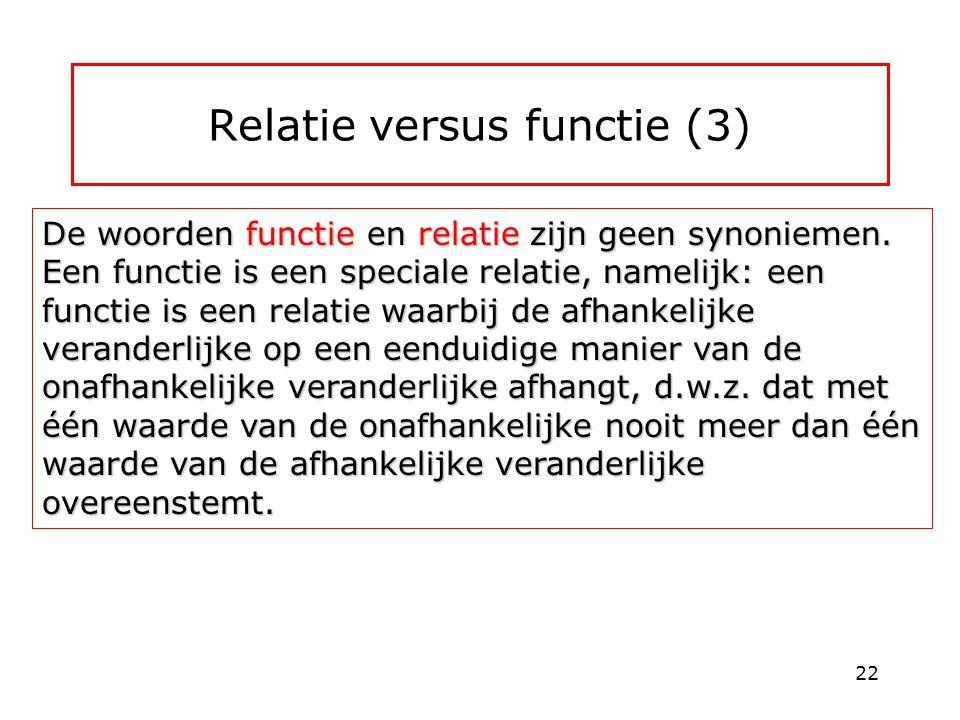Relatie versus functie (3) De woorden functie en relatie zijn geen synoniemen. Een functie is een speciale relatie, namelijk: een functie is een relat
