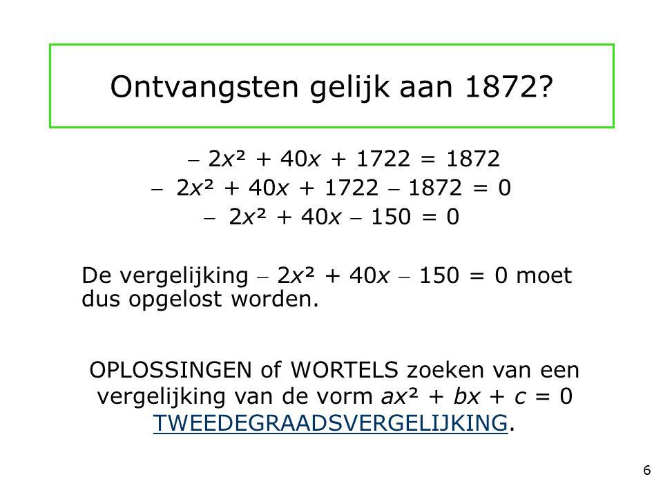 Ontvangsten gelijk aan 1872?  2x² + 40x + 1722 = 1872 2x² + 40x + 1722  1872 = 0 2x² + 40x  150 = 0 De vergelijking  2x² + 40x  150 = 0 moet du