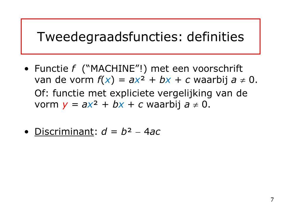 Tweedegraadsfuncties: definities Functie f ( MACHINE !) met een voorschrift van de vorm f(x) = ax² + bx + c waarbij a  0.