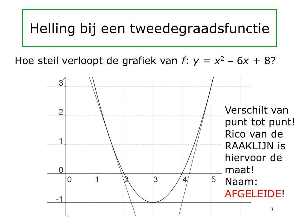 Helling bij een tweedegraadsfunctie Hoe steil verloopt de grafiek van f: y = x 2  6x + 8.