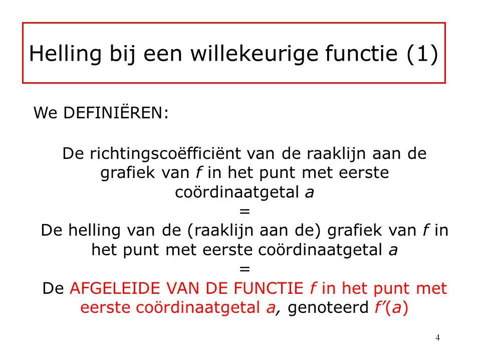 Helling bij een willekeurige functie (1) We DEFINIËREN: De richtingscoëfficiënt van de raaklijn aan de grafiek van f in het punt met eerste coördinaatgetal a = De helling van de (raaklijn aan de) grafiek van f in het punt met eerste coördinaatgetal a = De AFGELEIDE VAN DE FUNCTIE f in het punt met eerste coördinaatgetal a, genoteerd f'(a) 4