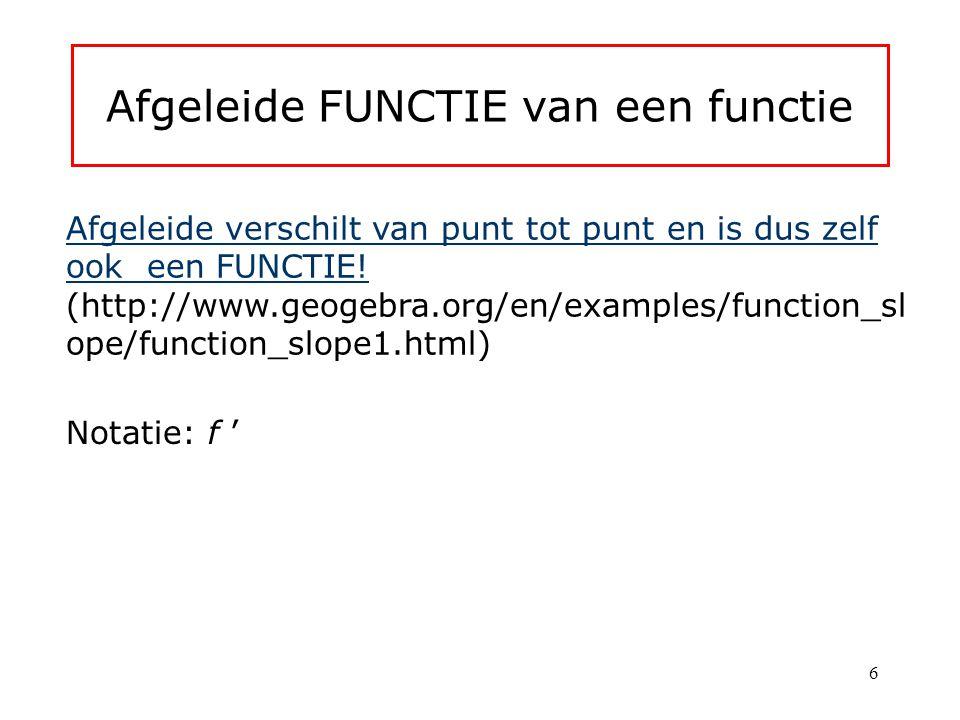 Afgeleide FUNCTIE van een functie Afgeleide verschilt van punt tot punt en is dus zelf ook een FUNCTIE.