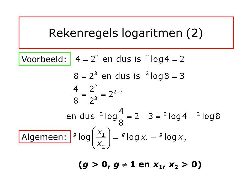 Rekenregels logaritmen (1) Voorbeeld: Algemeen: (g > 0, g  1 en x 1, x 2 > 0)