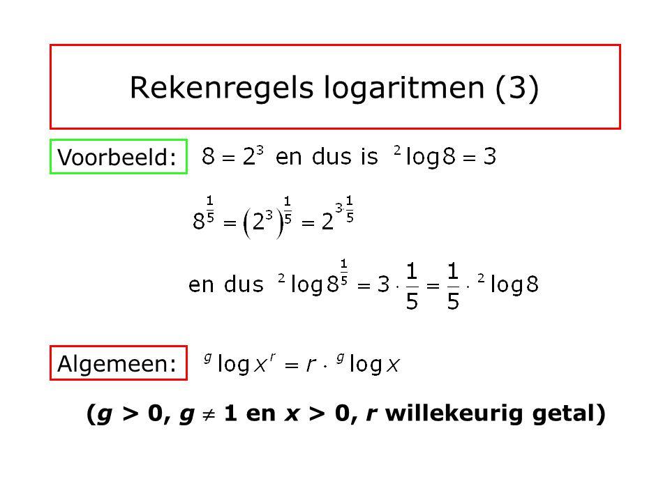 Rekenregels logaritmen (2) Voorbeeld: Algemeen: (g > 0, g  1 en x 1, x 2 > 0)