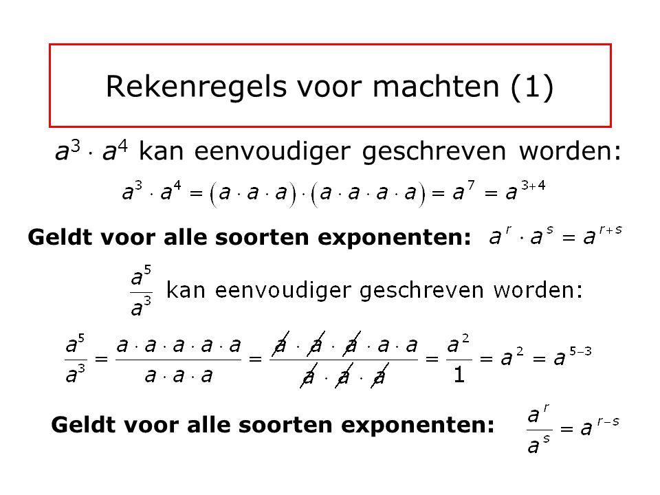 Rekenregel (!) logaritme DIE GEEN REKENREGEL IS Voorbeeld: Algemeen: Bijgevolg:
