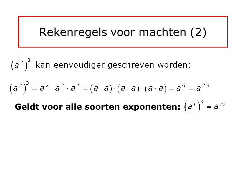 Rekenregels voor machten (1) a 3  a 4 kan eenvoudiger geschreven worden: Geldt voor alle soorten exponenten: