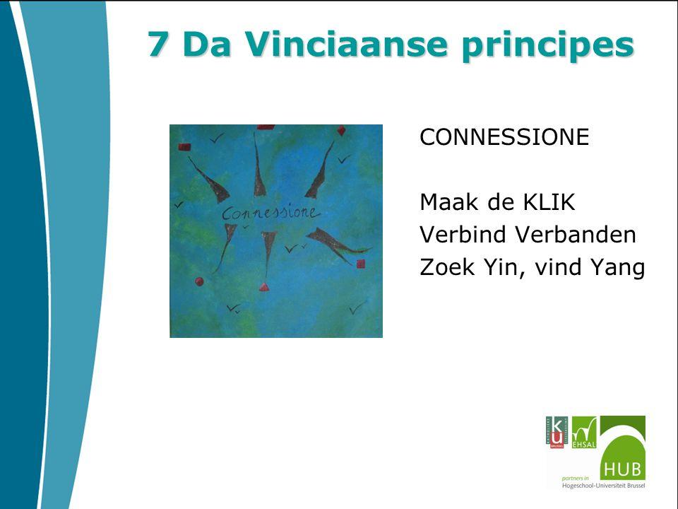 7 Da Vinciaanse principes CONNESSIONE Maak de KLIK Verbind Verbanden Zoek Yin, vind Yang