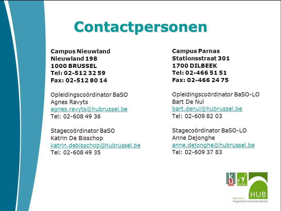 Contactpersonen Campus Nieuwland Nieuwland 198 1000 BRUSSEL Tel: 02-512 32 59 Fax: 02-512 80 14 Opleidingscoördinator BaSO Agnes Ravyts agnes.ravyts@h