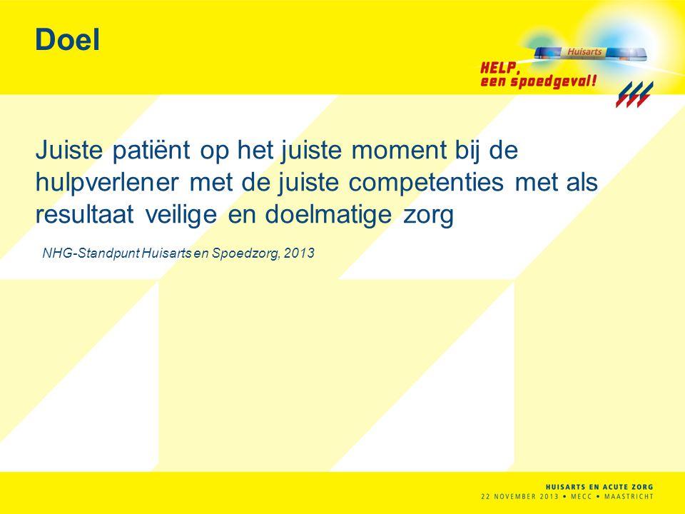 Doel Juiste patiënt op het juiste moment bij de hulpverlener met de juiste competenties met als resultaat veilige en doelmatige zorg NHG-Standpunt Hui