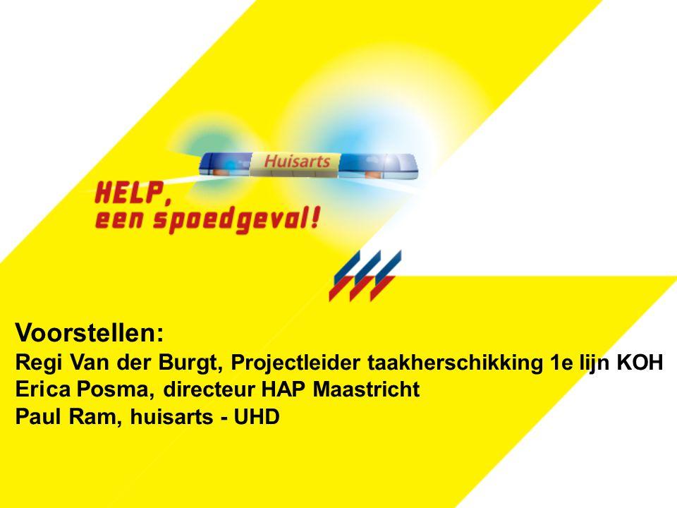 Voorstellen: Regi Van der Burgt, Projectleider taakherschikking 1e lijn KOH Erica Posma, directeur HAP Maastricht Paul Ram, huisarts - UHD