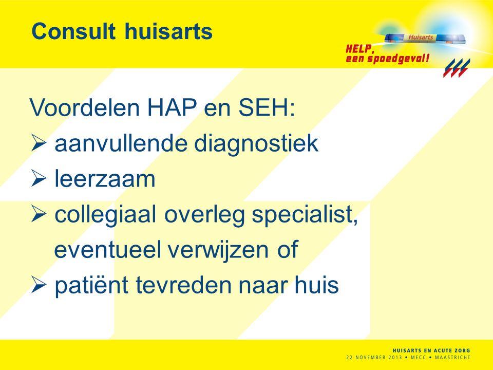 Consult huisarts Voordelen HAP en SEH:  aanvullende diagnostiek  leerzaam  collegiaal overleg specialist, eventueel verwijzen of  patiënt tevreden