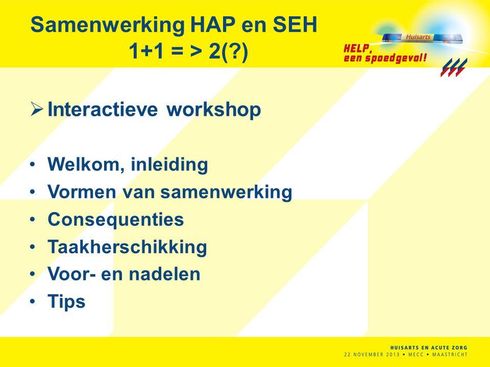 Interactieve workshop Welkom, inleiding Vormen van samenwerking Consequenties Taakherschikking Voor- en nadelen Tips Samenwerking HAP en SEH 1+1 = >