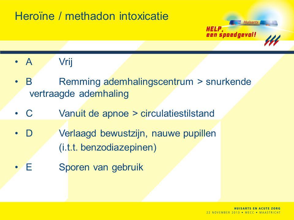 Heroïne / methadon intoxicatie AVrij BRemming ademhalingscentrum > snurkende vertraagde ademhaling CVanuit de apnoe > circulatiestilstand DVerlaagd be