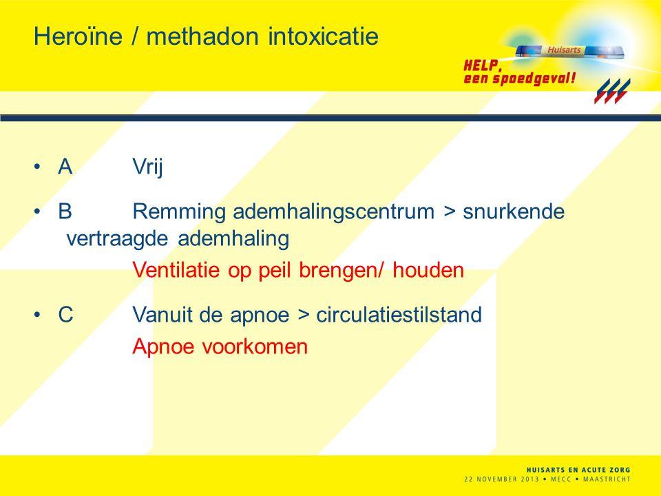 Heroïne / methadon intoxicatie AVrij BRemming ademhalingscentrum > snurkende vertraagde ademhaling Ventilatie op peil brengen/ houden CVanuit de apnoe