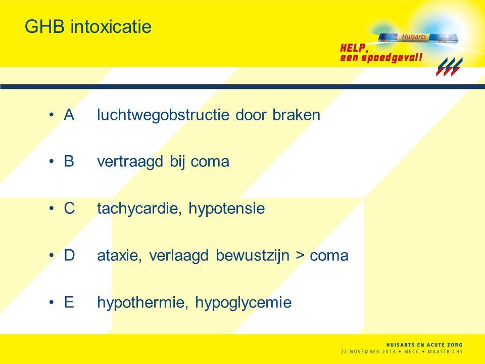 GHB intoxicatie Aluchtwegobstructie door braken Bvertraagd bij coma Ctachycardie, hypotensie Dataxie, verlaagd bewustzijn > coma Ehypothermie, hypogly